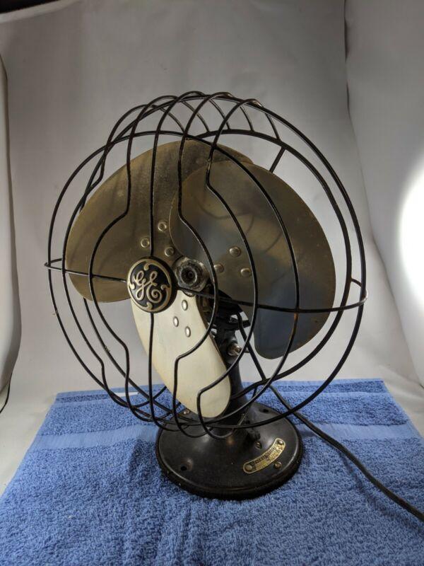 Vintage GE Quiet Fan - Electric Oscillating Desk Fan 1930