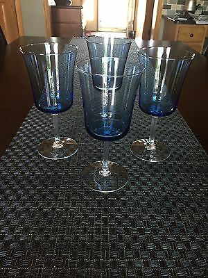 "Fostoria Princess Blue Water Goblets 6-5/8"" - Set Of 4"