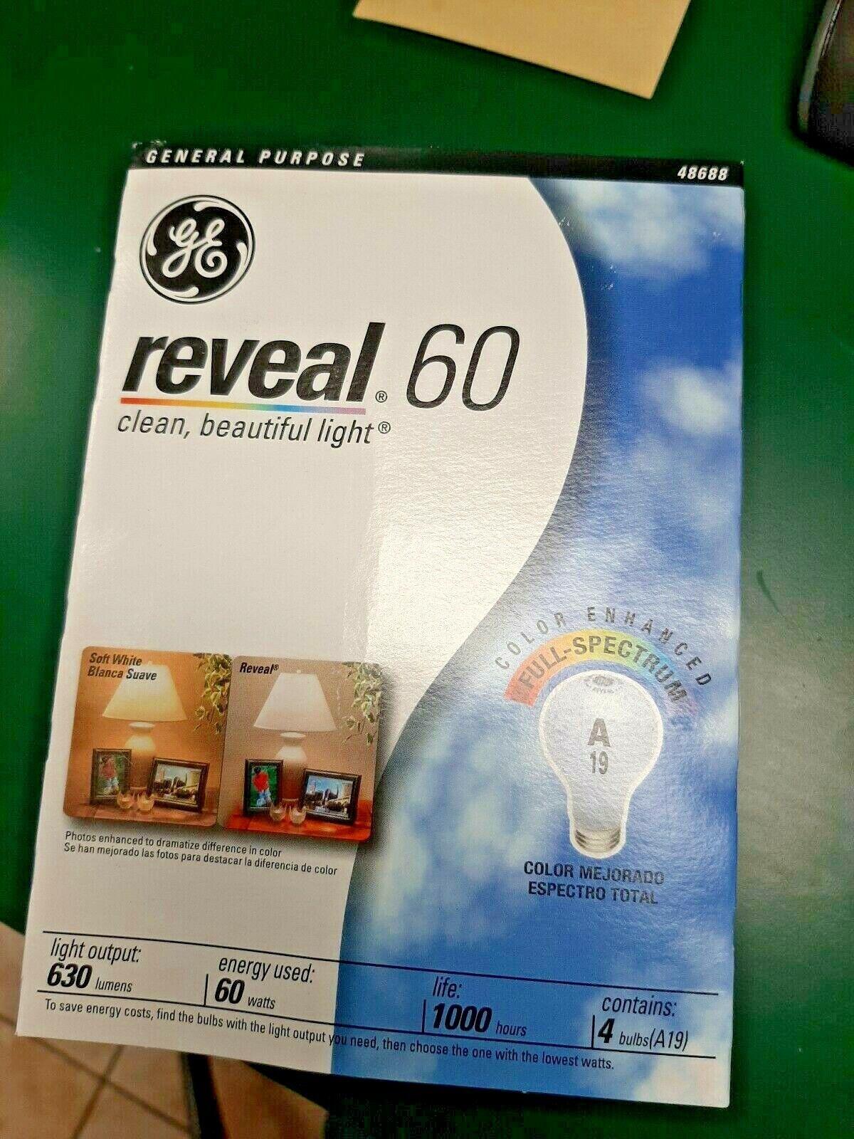 GE Lighting 48688 60-Watt A19 Reveal Bulbs, 4-Pack