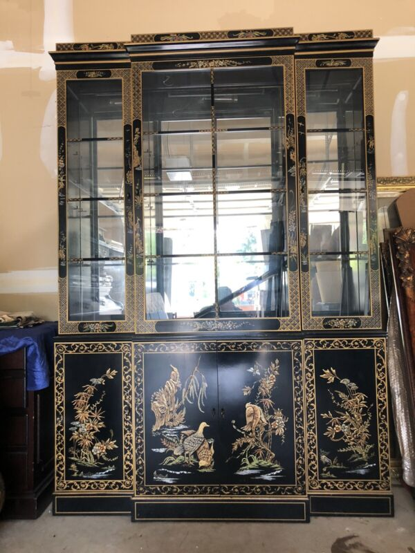 Oriental Furniture Black Lacquer China Cabinet 55 inches Long