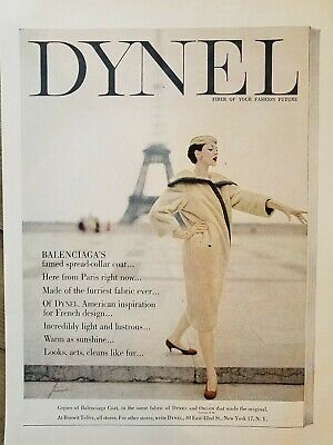 1955 Dynel fabric women's Balenciaga spread collar coat vintage Eiffel Tower ad