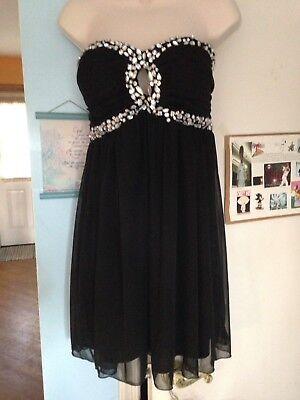 Junior's NWT Charlotte Russe Black Strapless Dress Encrusted With Rhinestones-XL Junior Strapless Kleider