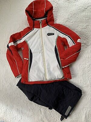 COLMAR Italy Ski Jacket Pants Red/Navy Euro 36 US 10 Kids Girls EUC