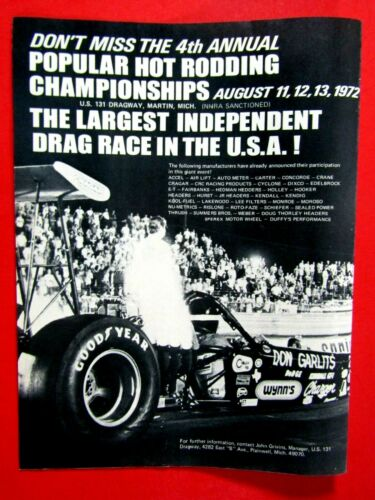 Big Daddy Don Garlits 1972 Dragway Martin Michigan Original Print Ad 8.5 x 11""