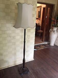 LOVELY VINTAGE TIMBER FLOOR LAMP - CREAM SHADE Pymble Ku-ring-gai Area Preview