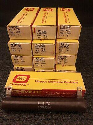 Ohmite L50j20k Lot Of 13 New Wirewound Ceramic Power Resistor 20k Ohm 50w