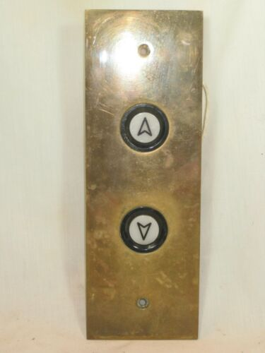 vintage heavy brass elevator double button up down architectural hardware plate