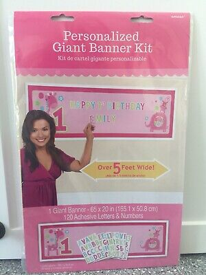 Personalized GIANT BANNER Kit for Baby GIRL 1st HAPPY BIRTHDAY Over 5' wide NWT](Happy 1st Birthday Banner)