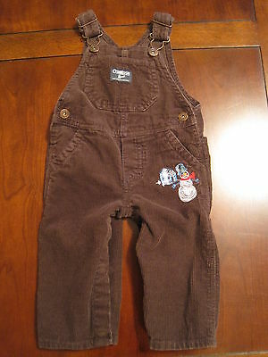 Brown Corduroy Boys Overalls - OshKosh Boys Brown Corduroy Snowman Winter Christmas Overalls 9 month EUC