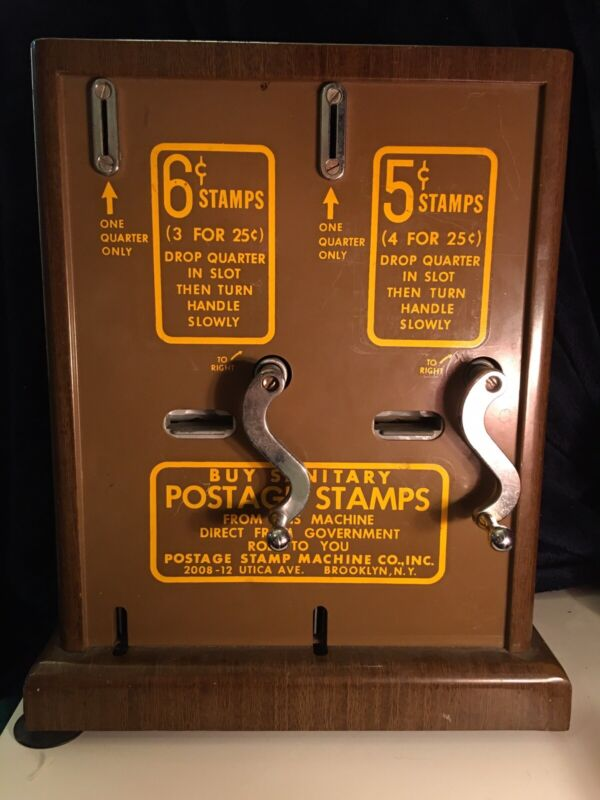 Vintage 5 And 6 Cent Postage Stamp Dispenser Machine Without A Back Cover