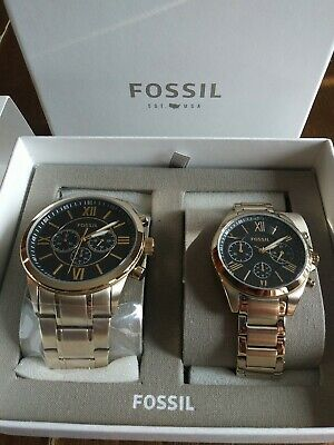 New Fossil Grant Couple Gift Set Watch His & Her Gold Watch BQ2400SET $265 + tx Her Couple Watches