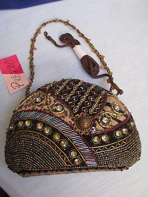 (Prezzo Beaded Jewels Tiger Stripe Evening Clutch Purse Handbag Shoulder Strap N)