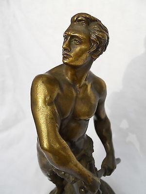 """Ancien Bronze Homme """" Défense du Foyer """" par A. Gaudez"""