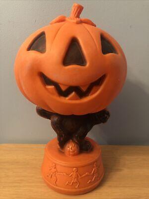 Vtg Pumpkin Black Cat Blow Mold w/ Dancing Skeletons Jack-o-Lantern-PLEASE READ
