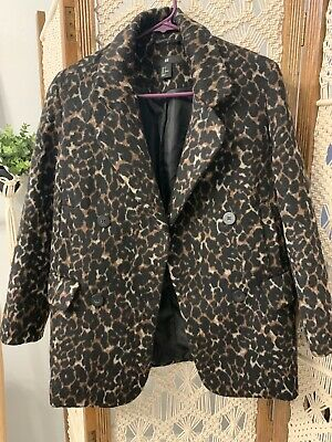 H&M Brown Leopard Print Blazer Coat Double Breasted US 4 WOOL BLEND