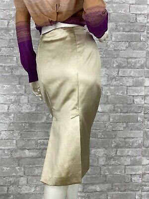 Alexander McQueen Cotton Silk Dress Pencil Skirt Slits 6 US 42 IT M Runway Auth