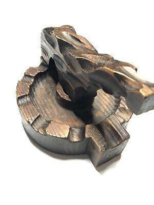Vtg Wood Carved Nutcracker Ash Tray Handmade Nails