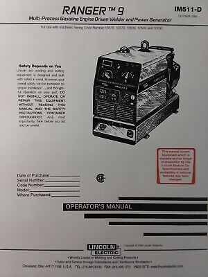 Lincoln Ranger 9 Welder Generator Onan Performer Gas Engine Owner 2 Manual S