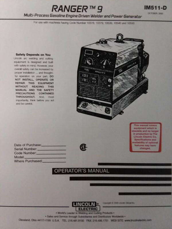 Lincoln Ranger 9 Welder Generator & Onan Performer Gas Engine Owner (2 Manual s)