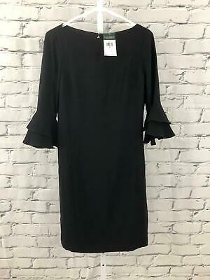 Lauren Ralph Lauren NEW Women Size 2 Black Mid Length 3/4 Bell Sleeve Dress NWT