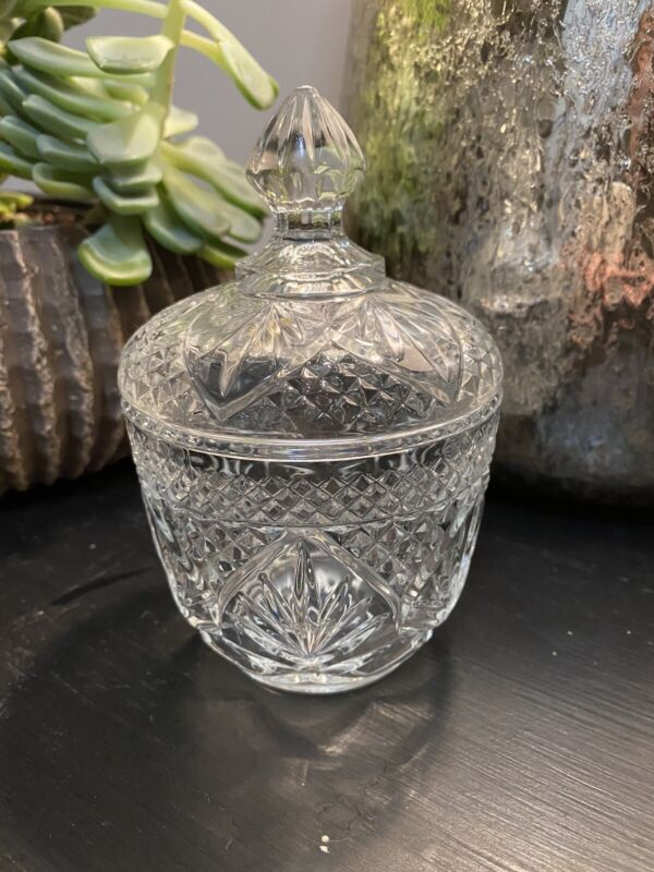Stunning Crystal Jar With Lid bathroom Vanity Cotton Ball Stamped USA