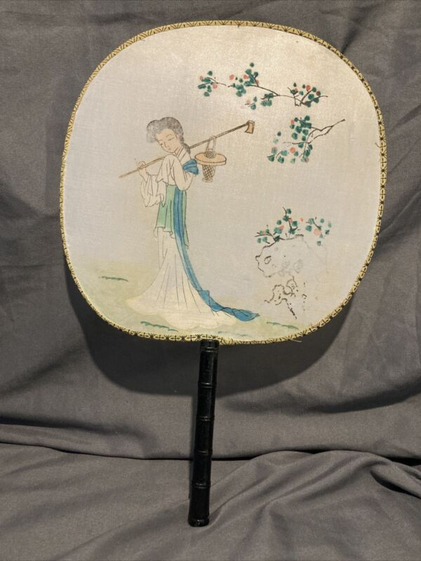 Vintage Chinese Silk Bamboo Flat Fan Hand-Painted