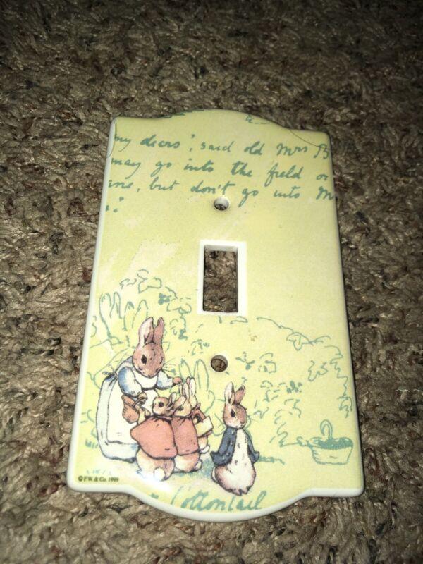 VINTAGE Beatrix Potter PETER Cottontail RABBIT LIGHT SWITCH COVER PORCELAIN 1999