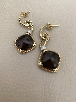 David Yurman Cushion on Point Smokey  Quartz & Diamond Earrings 18K Gold Cushion Smokey Quartz Earring