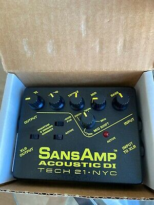 Tech 21 SansAmp Acoustic DI Gtr Direct Box Effects Bundle With Box Manual Tested