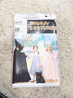Dorothy Witch Wizard of Oz Girls Costume Simplicity Sewing Pattern 0631 Size A - Dorothy Wizard Of Oz Costume Pattern