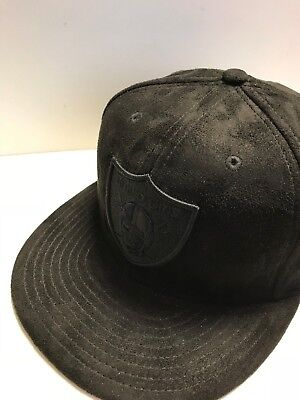 A16 NEW ERA OFFICIAL OAKLAND RAIDERS SUEDE Black Baseball Cap * Size 7 1/4