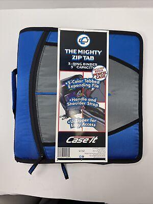 Case-it Mighty Zip Tab 3 3-ring Zipper Binder Blue New