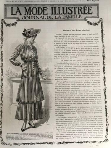 MODE ILLUSTREE SEWING PATTERN April 11,1915 - Simple dress, blouses...