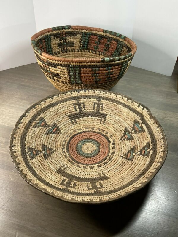 Set of 2 Hausa Tribal Baskets Coiled Woven from Nigeria West Africa