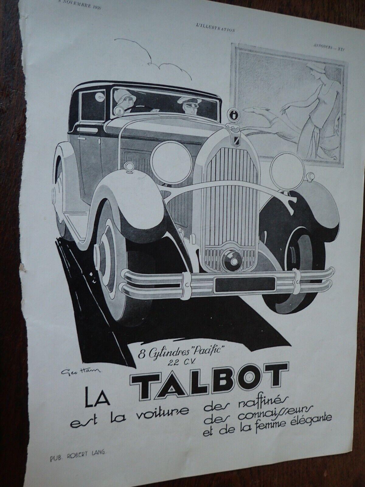 Talbot illustrée par geo ham +chapeau flechet publicité papier illustration 1930
