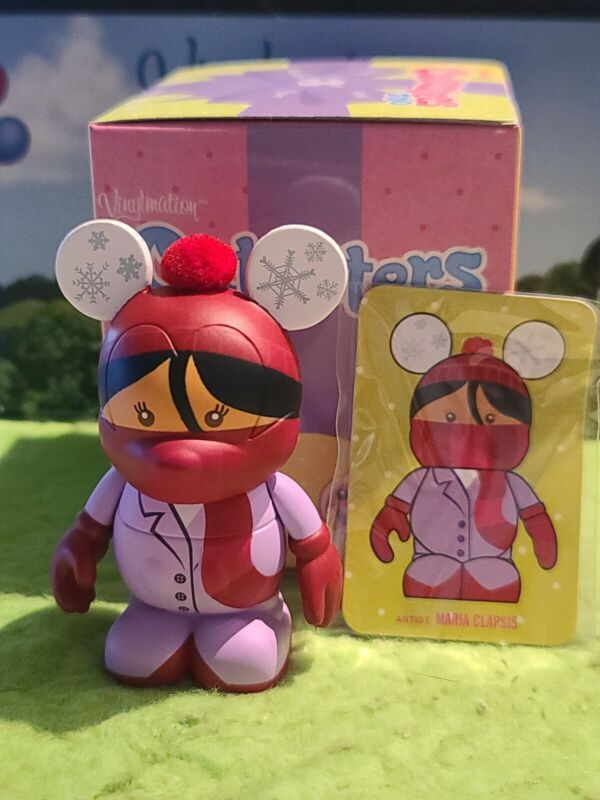 """DISNEY Vinylmation 3"""" Park Set 2 Cutesters Too with Box and Card Red Scarf"""