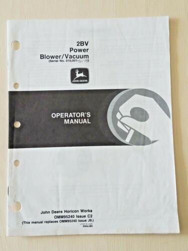 John Deere 2BV Power Blower/Vacuum Operator