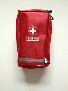 EMPTY FIRST AID KIT BAG WITH  COMPARTMENTS - MEDIUM -  RED