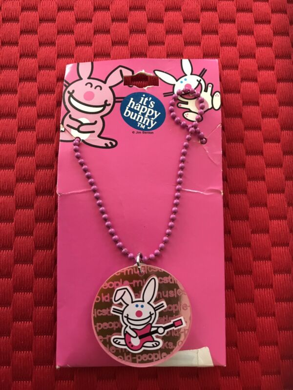 It's Happy Bunny Necklace Music Guitar Old People