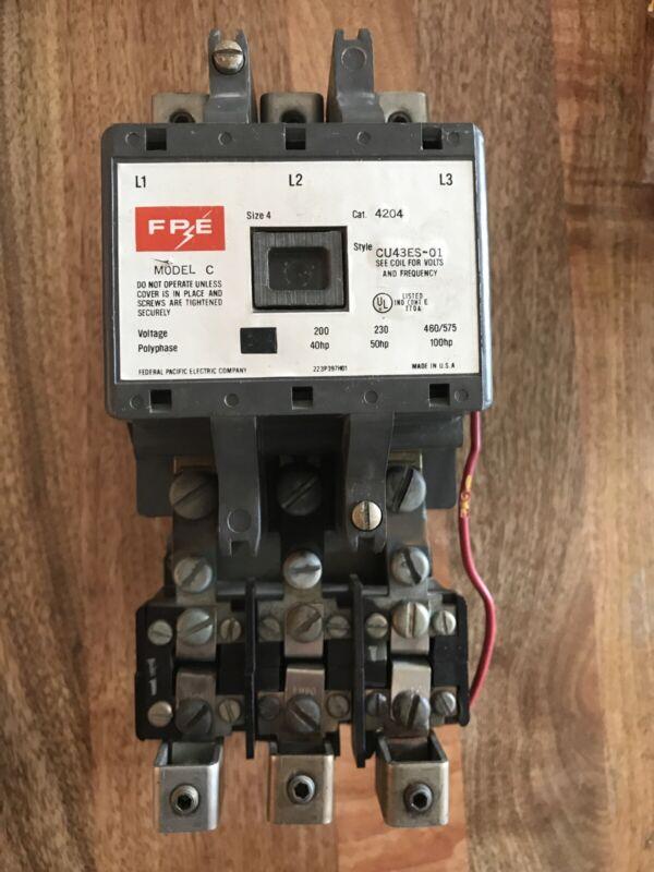 USED FPE 4204 CU43ES-01 MOTOR STARTER SIZE 4 /120V Coil/ 106-116 Amp