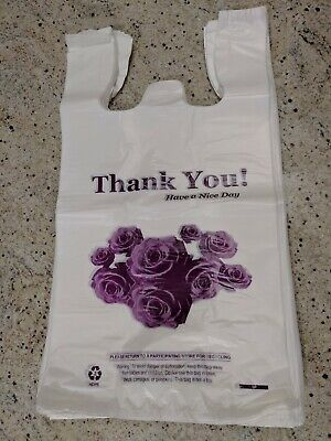 Heavy Duty T-shirt Bag Flower Thank You Plastic Carry Out Bags 11.5x 6x 21