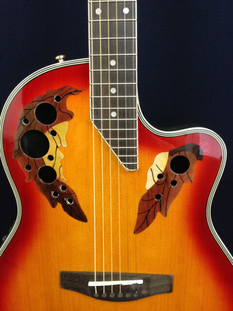 "41"" Caraya 725CEQ/CS Cherry-Sunburst Round-Back Electro-Acoustic Guitar+Free Bag"