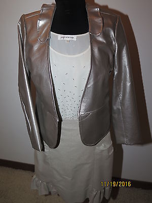 3 piece faux leather jacket beaded top handmade skirt suit DS37 (3 Piece Leather Skirt)