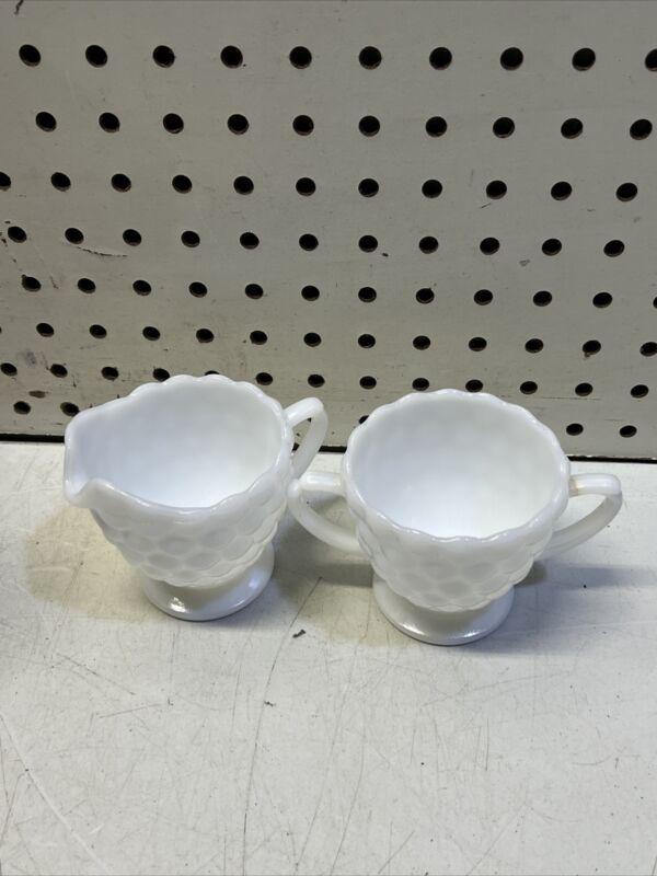 VINTAGE ~ White Milk Glass Bubble  Creamer and Cup ~ UNIQUE ~ Monochromatic