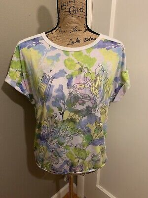 PRANA Women's Watercolored Floral Printed Dolman Sleeve T-Shirt Top Size S Small