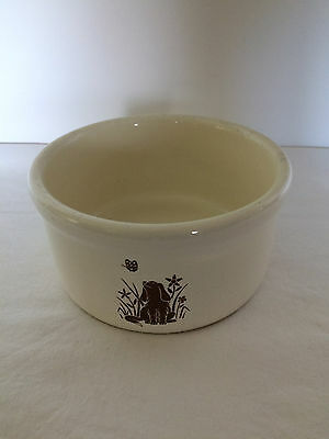 "Vintage Stoneware Dog Butterfly  7 5/8""  Pet Dog Dish Feeding Bowl"
