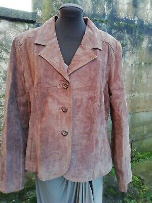 Vtg 90s WS Genuine Split Pig Skin Leather Brown Ladies Jacket 16/18. Superb...