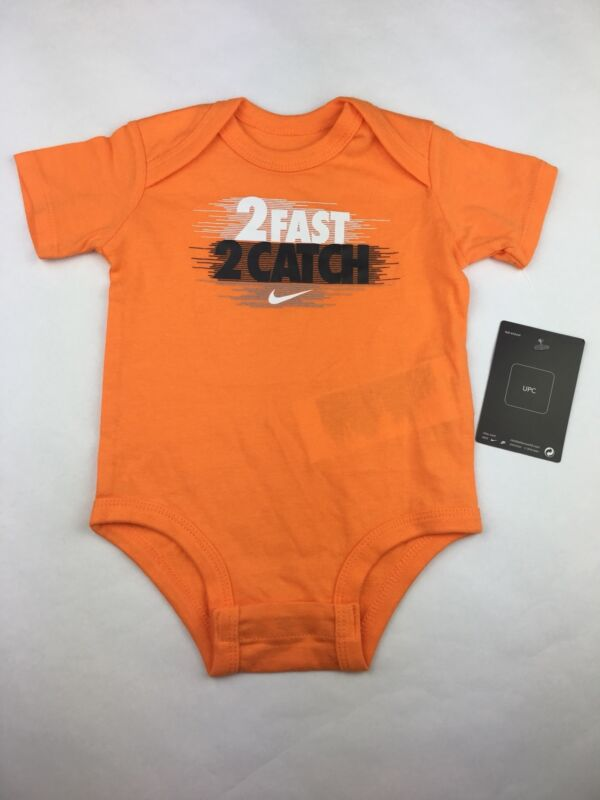 Nike Baby Size 9-12 Month One Piece Body Suit 2 Fast 2 Catch Orange New With Tag