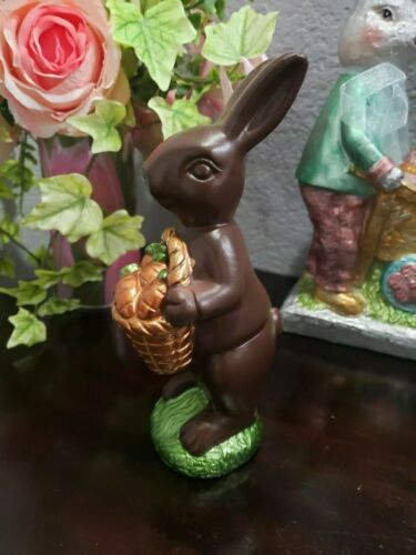 Easter Faux Chocolate Bunny Rabbit  & Carrot Basket Sculpture Figurine