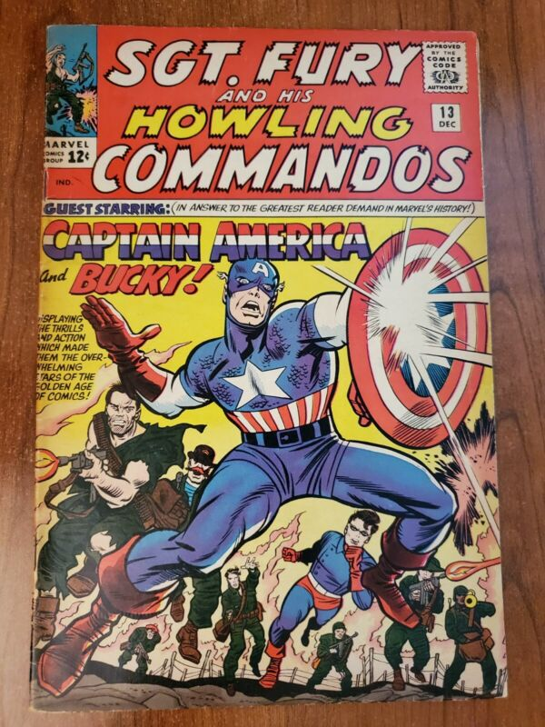SGT.  FURY AND HIS HOWLING COMMANDOS #13 FN/VF (1964) 1ST CAPTAIN AMERICA...